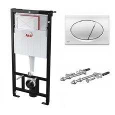 Инсталляция для подвесного унитаза AlcaPlast SET 3 v 1 AM101/1120+M71 (клавиша хром глянцевый)