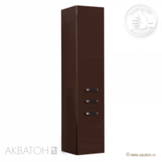 Шкаф-колонна подвесная Акватон Америна (340×1520 мм) темно-коричневый 1A135203AM430