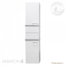 Шкаф-колонна Акватон Турин (420х1762 мм) белая с серебристыми панелями 1A118003TU780