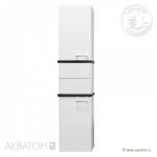 Шкаф-колонна Акватон Турин (420х1762 мм) белая с черными панелями 1A118003TUJ10