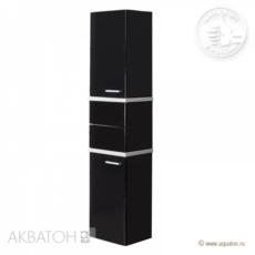 Шкаф-колонна Акватон Турин (420х1762 мм) черная с белыми панелями 1A118003TU950