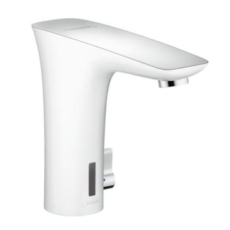 Смеситель для раковины электронный, с регулировкой температуры Hansgrohe PuraVida белый/хром 15170400
