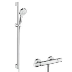 Душевой набор Hansgrohe Croma Select S Vario с термостатом Ecostat Comfort (белый/хром) 27014400