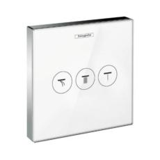 Модуль с тремя запорными клапанами Hansgrohe ShowerSelect (белое стекло) 15736400