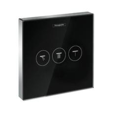 Модуль с тремя запорными клапанами Hansgrohe ShowerSelect (черное стекло) 15736600