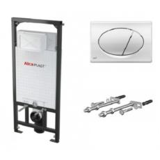 Скрытая система инсталляции для подвесного унитаза AlcaPlast SET 3 v 1 A101+M071 (клавиша хром глянцевый) A101/1200+M071