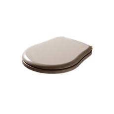 Сиденье с крышкой для унитаза Kerasan Retro 108701 (белое, крепление золото) с механизмом плавного закрывания
