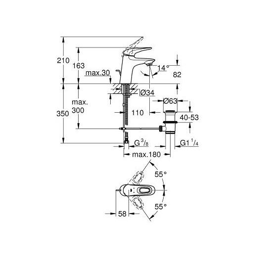 Смеситель для раковины Grohe Eurostyle 33558LS3