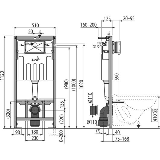 Инсталляция для подвесного унитаза AlcaPlast Sadromodul AM101/1120