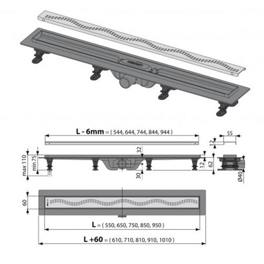 Водоотводящий желоб с решеткой AlcaPlast APZ8-550M Simple (550 мм)