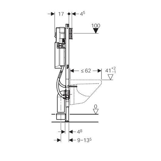 Инсталляция для подвесного унитаза Geberit Duofix 111.361.00.5 (ширина 41,5 см)