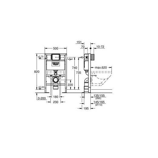 Инсталляция для подвесного унитаза Grohe Rapid SL 38587000 (усиленная, высота 0,82 м)