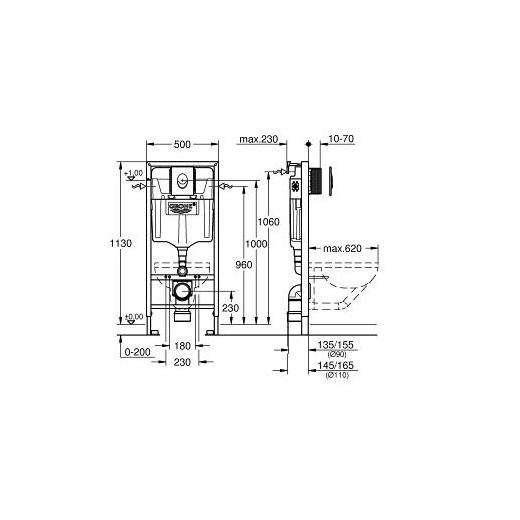 Инсталляция для подвесного унитаза Grohe Rapid SL 38722001 (3 в 1 в сборе)