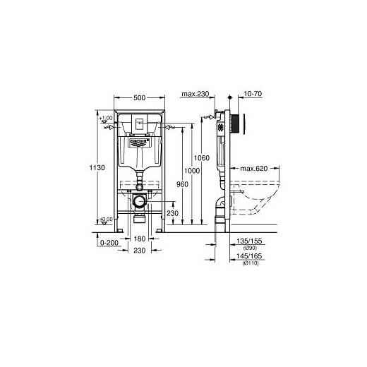 Инсталляция для подвесного унитаза Grohe Rapid SL 38775001 (4 в 1 в сборе)