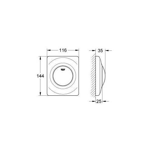 Накладная панель смыва для писсуара Grohe Surf 38808000