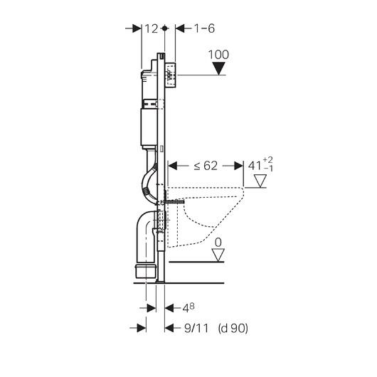 Инсталляция для подвесного унитаза Geberit DuofixBasic 458.124.21.1 (комплект 3 в 1)