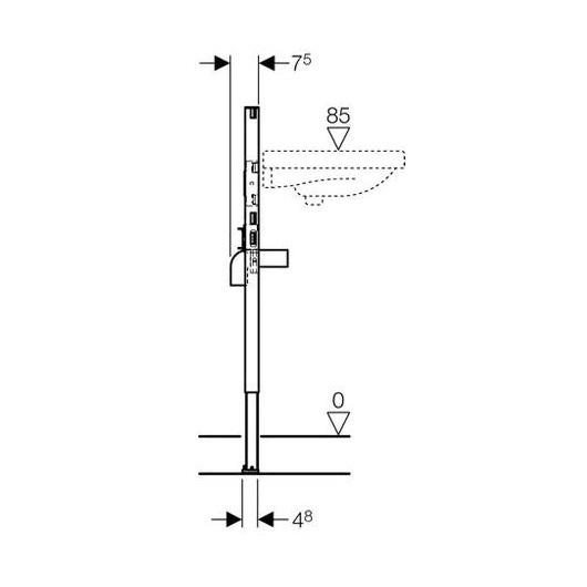Инсталляция для подвесного умывальника Geberit Duofix 111.490.00.1 (высота 98/82 см)