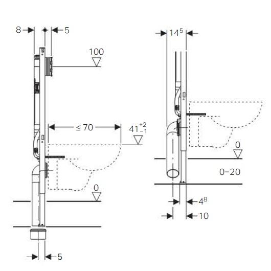 Инсталляция для подвесного унитаза Geberit Duofix UP720 111.796.00.1 (глубина 8 см)