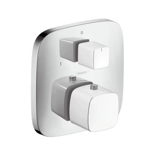 Термостат с запорным/переключающим вентилем Hansgrohe PuraVida белый/хром 15771400