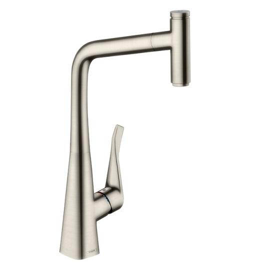 Смеситель для кухни с выдвижным душем Hansgrohe Metris Select под сталь 14884800
