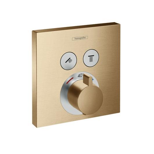 Термостат c двумя запорными вентилями Hansgrohe ShowerSelect 15763140 (шлифованная бронза)