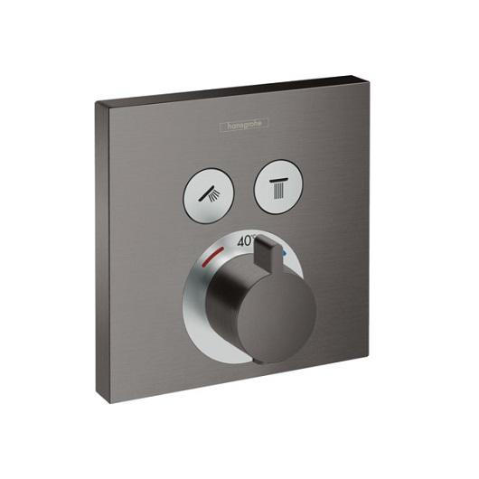 Термостат c двумя запорными вентилями Hansgrohe ShowerSelect 15763340 (шлифованный черный хром)