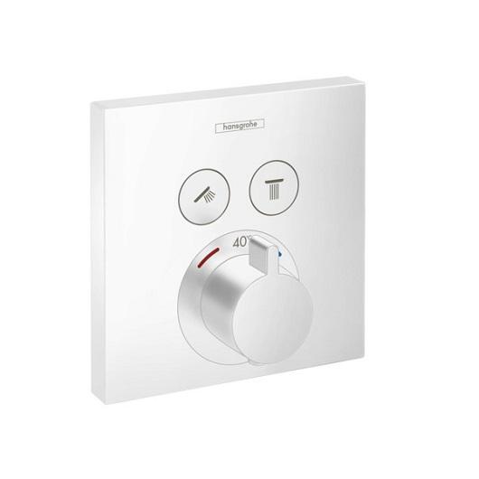 Термостат c двумя запорными вентилями Hansgrohe ShowerSelect 15763700 (матовый белый)