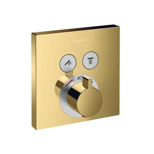 Термостат c двумя запорными вентилями Hansgrohe ShowerSelect 15763990 (полированное золото)