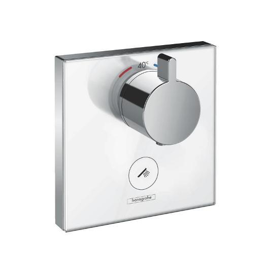 Термостат для одного потребителя Hansgrohe ShowerSelect Highflow (белое стекло) 15735400