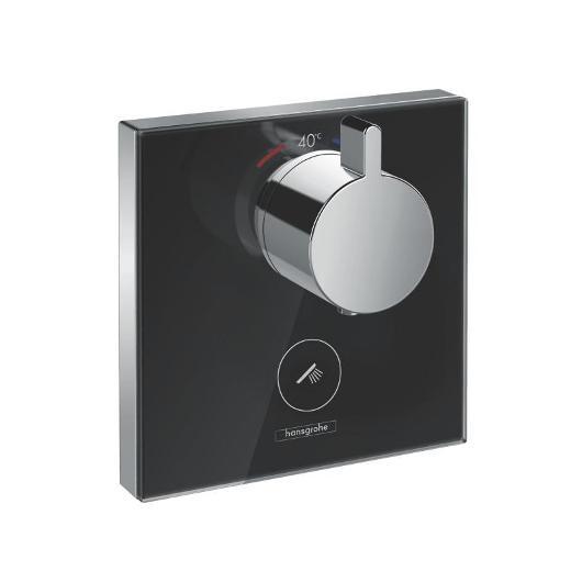 Термостат для одного потребителя Hansgrohe ShowerSelect Highflow (черное стекло) 15735600