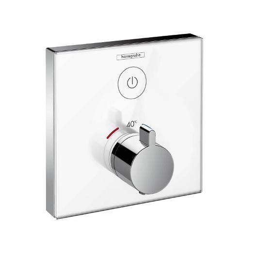 Термостат для одного потребителя Hansgrohe ShowerSelect (белое стекло) 15737400