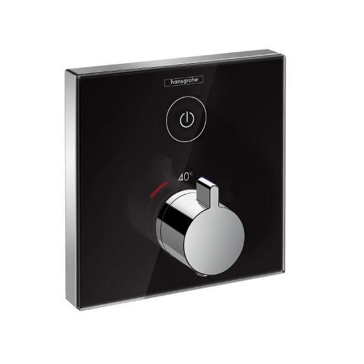 Термостат для одного потребителя Hansgrohe ShowerSelect (черное стекло) 15737600