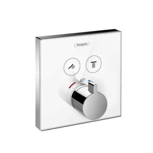 Термостат для двух потребителей Hansgrohe ShowerSelect (белое стекло) 15738400