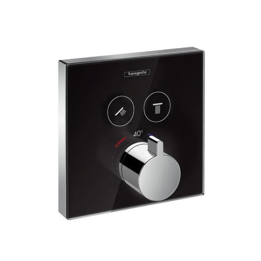 Термостат для двух потребителей Hansgrohe ShowerSelect (черное стекло) 15738600