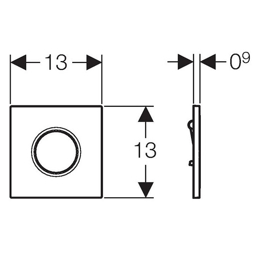 Пневмопривод смыва для писсуара Geberit Sigma01 116.011.21.5 (глянцевый хром)