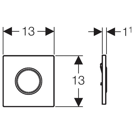 Пневмопривод смыва для писсуара Geberit Sigma10 116.015.SN.1 (матовая нерж. сталь)