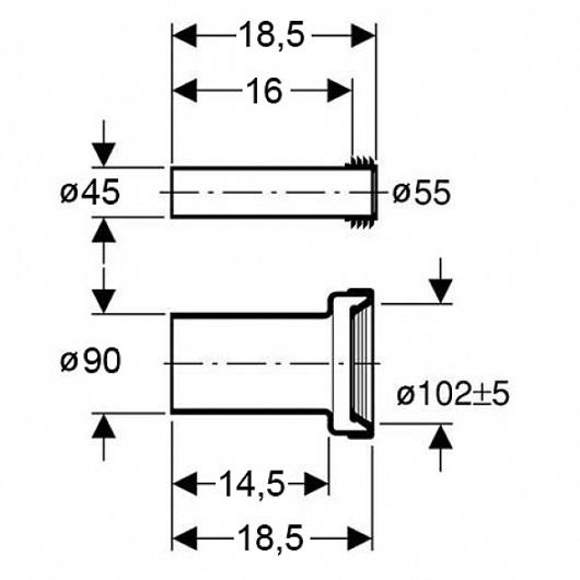 Соединительный комплект Geberit 152.404.46.1 (из ПНД, 18,5 см)