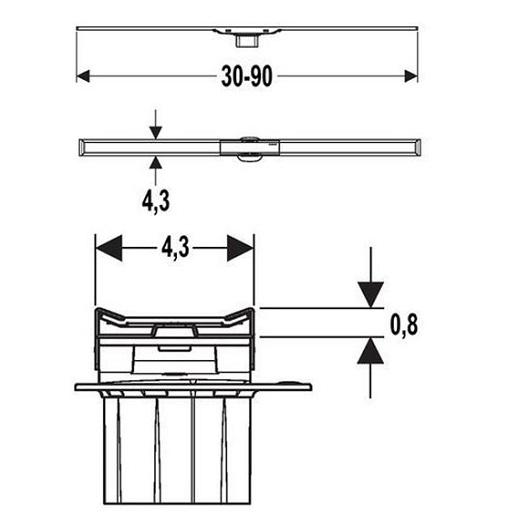 Крышка дренажного канала Geberit CleanLine20 154.450.KS.1 (обрезной, 30-90 см)
