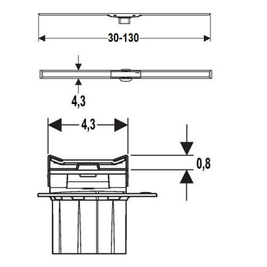 Крышка дренажного канала Geberit CleanLine20 154.451.00.1 (обрезной, 30-130 см)