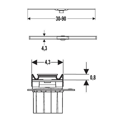 Крышка дренажного канала Geberit CleanLine60 154.456.KS.1 (обрезной, 30-90 см)