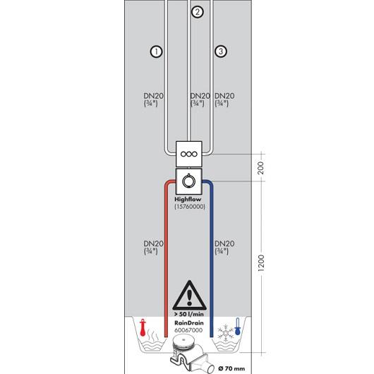 Модуль с тремя запорными клапанами Hansgrohe ShowerSelect 15764000