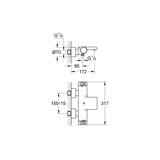 Смеситель для ванны термостатический Grohe Grohtherm 2000 34174001