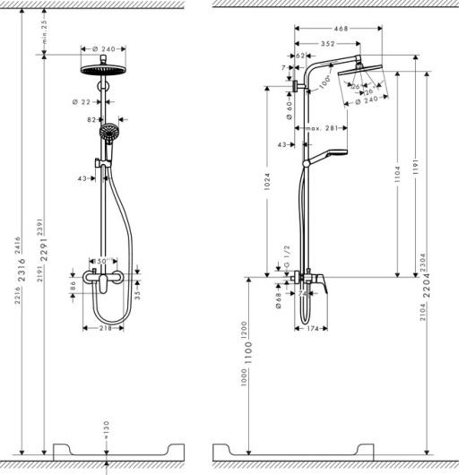 Душевая система Hansgrohe Crometta S 240 1jet Showerpipe EcoSmart 27269000