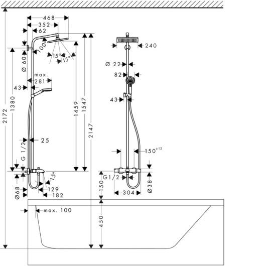 Душевая система Hansgrohe Crometta E 240 1jet Showerpipe 27298000