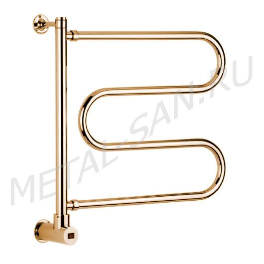 Полотенцесушитель электрический Margaroli Vento 500 BOX (575х630 мм) золото, поворотный