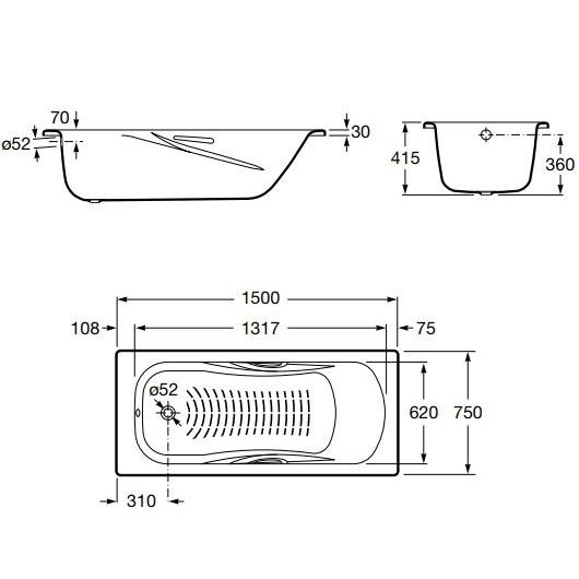 Ванна стальная прямоугольная Roca Princess-N 150х75 2204E0000 (противоскользящее покрытие)