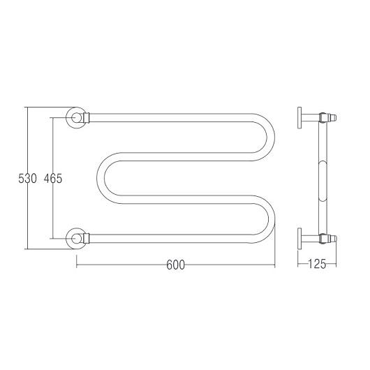 Полотенцесушитель водяной Margaroli Vento 402 (530х600 мм) бронза