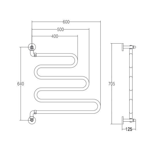 Полотенцесушитель водяной Margaroli Vento 405 (640х600 мм) хром, поворотный