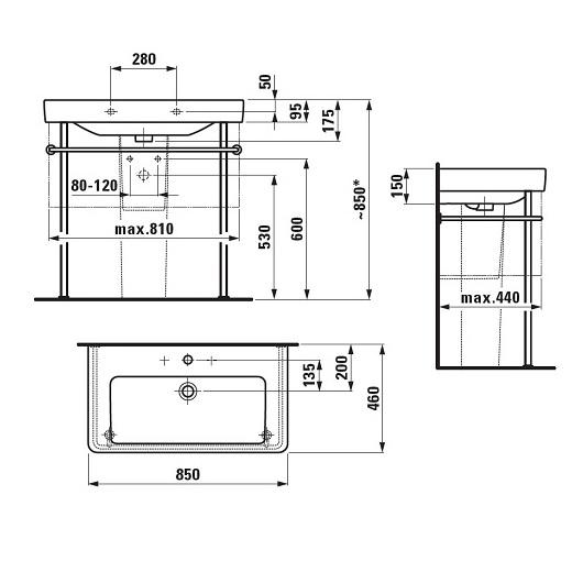 Раковина Laufen Pro S 1396.5 (8.1396.5.000.104.1, 850х460 мм)