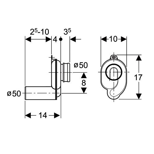 Сифон для писсуара Geberit 152.950.11.1 (горизонтальный выпуск, D50)